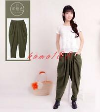 Womens Cotton Linen Drop Crotch Loose Fit Harem Pants casual Trousers bloomers