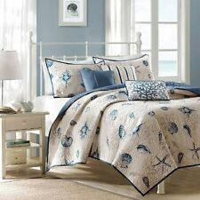 BLUE WHITE NAUTICAL SHELL TROPICAL BEACH SEA SHORE CORAL OCEAN QUILT SET SOFT