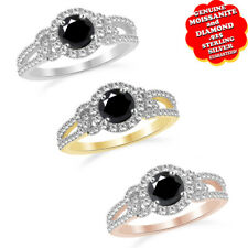 3/4 Ct Round Cut Black Moissanite & Diamond Halo Ring in Sterling Silver