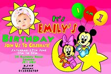 MICKEY MOUSE MINNIE MOUSE personalised party invitations, birthday invites x 10