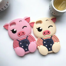 3D Cartoon Belt Pants Pig Silicone Rubber Gel Soft Case Cover For iPhone/Samsung