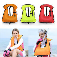 Inflatable Swimming Life Jacket Boating Survival Buoyancy Vest Snorkel 7962HC