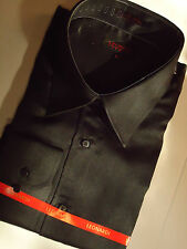 Mens Slick Black High Collar Shirt Nice Lightweight Feel Leonardi Edition 140