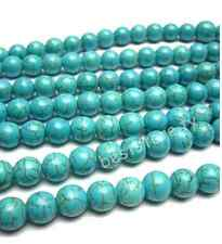 """16"""" 4mm 6mm 8mm 10mm 12mm Howlite Turquoise Gemstone Round Loose Beads"""