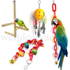 Colorful Pet Birds Macaw Parrot Bite Chewing Climbing Cage Hanging Swing Toys