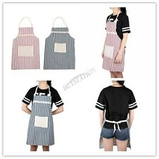 1x Unisex Stripe Bib Apron Poly Kitchen Restaurant Home Baking Cooking Waitress