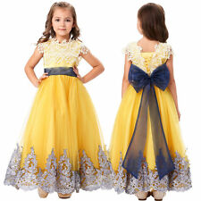 Formal Flower Girl Princess Bridesmaid Wedding Prom Kids Party Lace Tulle Dress