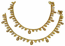 Ethnic Traditional Goldtone Anklet CZ Stone Foot Bracelet Ankle Jewelry-SA47-PAR