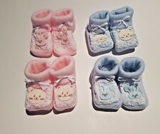 CUTE EMBROIDERED PINK & BLUE BABY BOOTIES BY NURSERY TIME