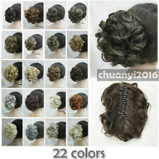 22 colors Short Curly Wavy claw clip ponytail hair pieces wig + free wig cap