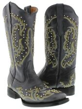 Womens Black Studded and Stitched Leather Western Cowboy Boots Square Toe