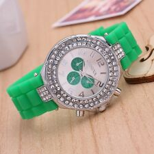 Women's Student Fashion Casual Geneva Diamante Silicone Crystal Watches Gifts