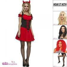 Womens Wicked Devil Fever Sexy Halloween Ladies Adult Fancy Dress Costume Wig