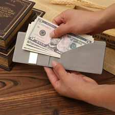 Mens Magic PU Leather Purse Silver Money Clip Slim Wallets ID Credit Card Holder