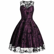 Women Vintage Summer Sleeveless O Neck Purple Color Party Dress PN1048