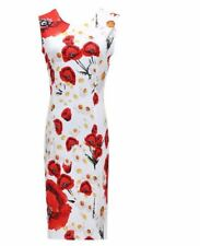 Multi-color Floral Print Sleeveless O-Neck Solid Color Long Dress For Women