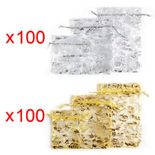 100x Rose Embossed Organza Gift Bags Jewellery Pouches XMAS Wedding Party Candy
