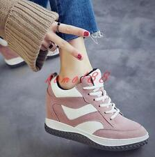 New Womens Hidden wedge Heel Athletic Shoes Comfy Fashion Sneakers Lace UP Sport