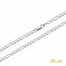 """Mens Curb Chain Figaro Necklace Sterling Silver 925 4mm 20 22 24 26 28 30"""" Inch"""
