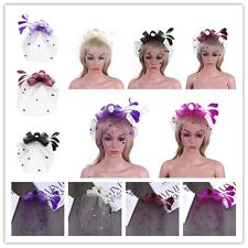 Women Lady Party Fascinator Feather Bowknot Cocktail Bridal Hair Clip Headwear