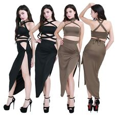 Women Crop Top Shirt High Waist Skirt Party Bodycon Bandage Cocktail Club Dress