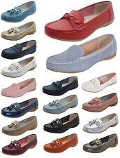 New Women Leather Flat Loafer Casual Comfy Slider Low Wedge Heel Work Shoes