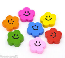 Wholesale Lots Gift Mixed Color Cute Smiling Flower Wood Beads 20x20mm