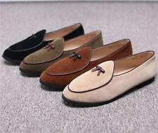 Mens Loafers Suede Slippers Flats Bowtie Slip on Belgian Dresses Casual Shoe New