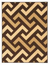 Rubber Backed Non-Slip Ivory - Brown - Chocolate Color Geometric Design Area Rug