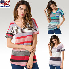 US Womens Stripe Tops Short Sleeve T-Shirt Blouse Loose Casual Tops V Neck Shirt