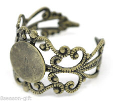 Wholesale Lots Gift Bronze Tone Adjustable Filigree Rings 18.3mm