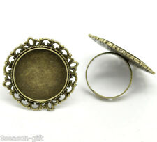 Wholesale Bronze Tone Adjustable Round Cabochon Ring Settings 18.3mm US 8