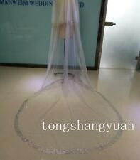 Rhinestones Ivory White 2 Tiers Bridal Wedding Veil Cathedral 3M With Comb Veils