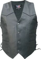 Mens Tall Black Leather Motorcycle Biker Vest Side Laces Buffalo