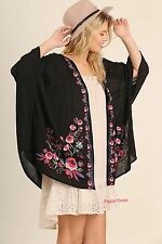 Umgee USA SM ML Black Floral Cardigan New Open Front Embroidered Kimono Top NWT