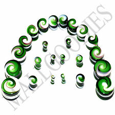 """V098 Double Flare Green White Swirl Glass Saddle Plugs Spiral 6G to 7/8"""""""