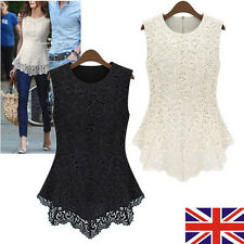 UK Womens Sleeveless Embroidery Lace Tops Chiffon T-Shirts Ladies Fashion Blouse