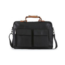 Blue Mount Mens Leather Briefcase Black Business Tote Bag for Laptop 8857