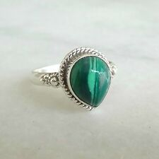 925 Solid Sterling Silver Ring Natural Malachite US Size 4 to 13
