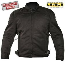 Xelement Mens CF2157 Black Mesh Padded TriTex Level3 Armored Motorcycle Jacket