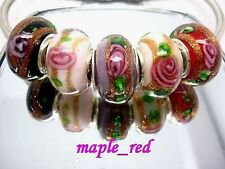 Fashion Shiny Foil Flower Lampwork Glass Beads Fit European Charm DIY Bracelet