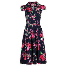 40s 50s 60s Navy Blue Vintage Floral Blossom Rockabilly Pin Up Tea Swing Dress