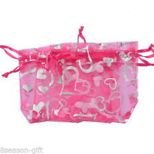 Wholesale HX  7x9cm Fuchsia Heart Organza Gift Bags Wedding/Christmas Favor