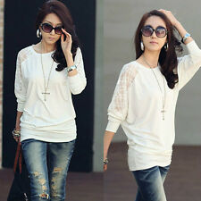 Women's Summer Sexy Batwing Tops Dolman Long Sleeve T-Shirts Casual Lace Blouses