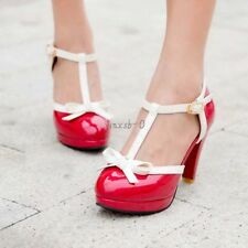 HOT Womens T Strap Bow High Heel Pumps Leather Mary Jane Lady Shoes Size US4-13