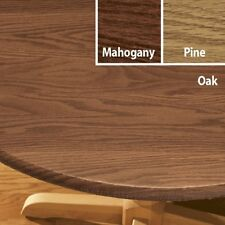 ELASTICIZED Wood Grain Vinyl Round Oval/Oblong Table Cover Flannel Backed ~