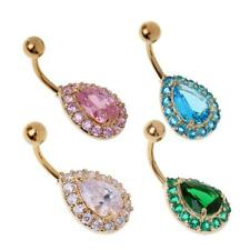 Crystal Water Drop Body Piercing Belly Button Ring Crystal Dangle Navel Bar