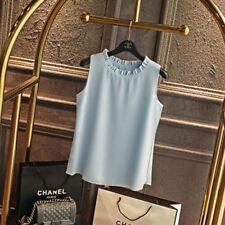 Women Light Blue Color Chiffon Fabric O-Neck Loose Sleeveless Blouse