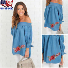 Off The Shoulder Women Loose Tops Blouse Embroidery Casual T-Shirt Long Sleeve