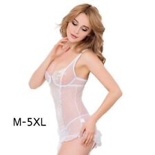 Women Plus Size Sexy Lingerie with Garters Summer Lace Sleepdress with G-string